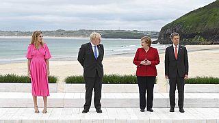 Carrie und Boris Johnson mit Angela Merkel und Peter Sauter in Cornwall beim G7-Gipfel