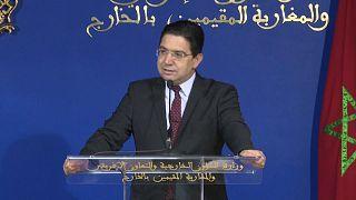 El ministro de Exteriores marroquí, Naser Burita, en rueda de prensa