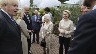Britain's Queen Elizabeth II with US President Joe Biden and his wife Jill Biden during a reception with G7 leaders at the Eden Project in Cornwall, England, June 11, 2021.