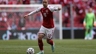 Denmark midfielder Christian Eriksen during the Euro 2020 match between Denmark and Finland at Parken stadium in Copenhagen, June 12, 2021.