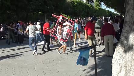 Clashes in Tunis as police try to break up protest