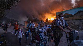 Tűzvész a leszboszi Moria menekülttáborban, 2020. szeptember 9.
