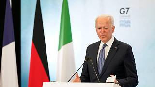 President Joe Biden speaks during a news conference after attending the G-7 summit, Sunday, June 13, 2021, at Cornwall Airport in Newquay, England