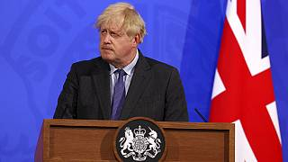 Britain's Prime Minister Boris Johnson attends a media briefing in Downing Street, London, Monday, June 14, 2021