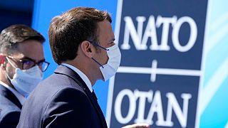 Presidente de França, Emmanuel Macron, a chegar à cimeira da NATO