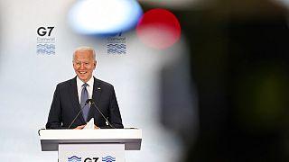 El presidente de EEUU Joe Biden durante una comparecencia en el G7.