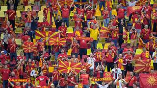 North Macedonia's supporters pictured at the National Arena stadium in Bucharest.