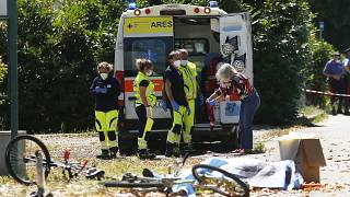 Ambulance personnel pictured at the scene of the shooting in Ardea on Sunday.