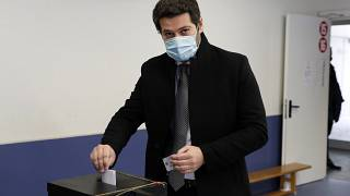 Andre Ventura casts his ballot at a polling station in Lisbon during January's presidential election.
