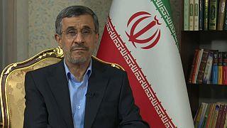 Iran's former president Mahmoud Ahmadinejad talks to Euronews