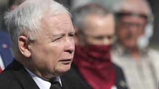 Poland's ruling party leader Jaroslaw Kaczynski attends a police-guarded ceremony in Warsaw.