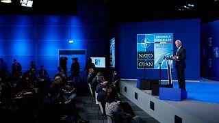 الرئيس جو بايدن خلال مؤتمر صحافي في ختام قمة الناتو في بروكسل. 2021/06/14