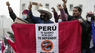 Manifestación de simpatizantes de Pedro Castillo en Lima, el 12 de junio de 2021