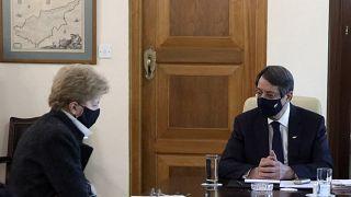 Cyprus President Nicos Anastasiades, right, and United Nations Secretary General advisor Jane Holl Lute