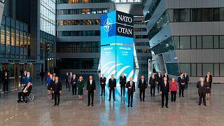 صورة تذكارية لقادة الدول الأعضاء في حلف شمال الأطلسي قبيل القمة التي عُقدت في بروكسل 14 حزيران/يونيو 2021