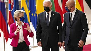 European Commission President Ursula von der Leyen, European Council President Charles Michel, right, and U.S. President Joe Biden arrive for the EU-US summit, June 15, 2021.