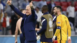 France's manager Didier Deschamps celebrates after the Euro 2020 championship group F match between Germany and France.