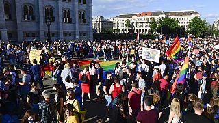 Macaristan'da LGBT hakları gösterisi