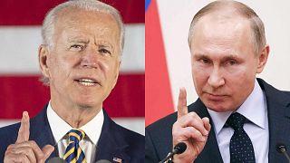 جو بايدن خلال خطاب ألقاه في بنسلفانيا في 17 يونيو 2020 وفلاديمير بوتين خلال اجتماع مع الرياضيين الروس خارج موسكو في 31 يناير 2018
