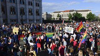 A pedofilellenes törvényjavaslat melegellenes részei ellen tartott demonstráció az Országház előtt