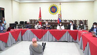El Comité Nacional del Paro, durante su anuncio de cese de movilizaciones