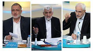 محسن مهرعلیزاده، سعید جلیلی و علیرضا زاکانی در مناظره تلویزیونی انتخاباتی