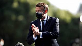 French President Emmanuel Macron arrives for an EU summit at the Crystal Palace in Porto, Portugal, Saturday, May 8, 2021