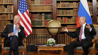 US President Joe Biden and Russia's President Vladimir Putin meet at the 'Villa la Grange' in Geneva on June 16, 2021.