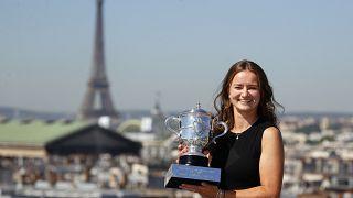 Czech tennis star Barbora Krejcikova with the French Open trophy