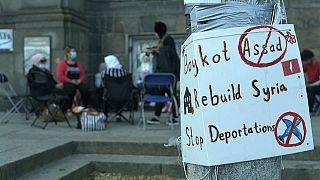 Protest vor dem Parlament in Kopenhagen in Dänemark