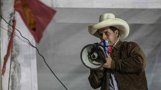 Pedro Castillo, a Szabad Peru jelöltje beszél június 6-án