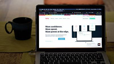 FILE: The Fastly home page is seen on Tuesday, June 8, 2021, in Los Angeles.