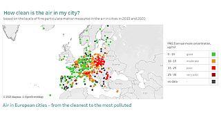 A városi levegő minőségét jelző térkép