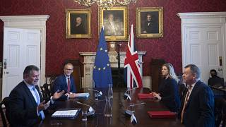 European Commission vice-president Maros Sefcovic (L) and his UK counterpart David Frost in post-Brexit Partnership Council and Joint Committee meetings, London, June 9, 2021.