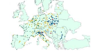 A map of EU cities based on air pollution levels based on data from the European Environment Agency.