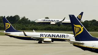Ryanair planes pictured at London Stansted Airport in the UK.