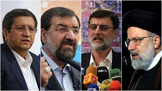 Candidates for the 2021 Iranian president election (from left to right): Abdolnasser Hemmati, Mohsen Rezaei, Amir Hossein Ghazizadeh Hashemi and Ebrahim Raisi.