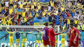 Ukraine players greet their supporters following their Euro 2020 group C match against North Macedonia at the National Arena stadium, Bucharest, Romania, June 17, 2021.