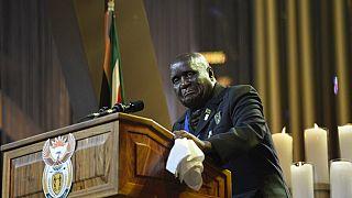 In this file photo taken on December 15, 2013 Zambia's President Kenneth David Kaunda speaks during the funeral ceremony of South African former president Nelson Mandela.