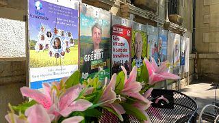 Предвыборные афиши в Лионе, кадр из видео, 17 июня 2021 г.