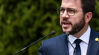 Newly appointed Catalan regional president Pere Aragones speaks during a press conference in Brussels