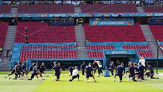 France players attend a training session at the Ferenc Puskas stadium in Budapest, Hungary, Friday, June 18, 2021,