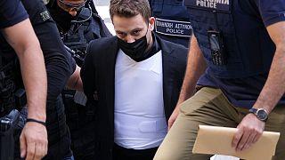 Babis Anagnostopoulos, der gestanden hat, seine Frau ermordet zu haben, in Athen in Griechenland