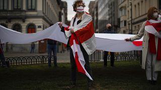 من مظاهرة للمعارضة البيلاروسية في الحي الأوروبي ببروكسل (آذار/مارس 2021)