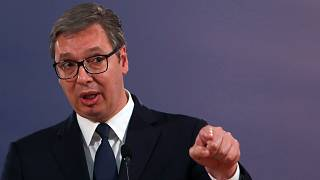 Serbian President Aleksandar Vucic speaks during a press conference in Belgrade, Serbia on Friday May 14 2021 file photo