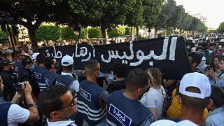 مظاهرة ضد عنف الشرطة في تونس