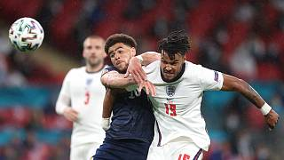 Scotland's Che Adams, left, and England's Tyrone Mings compete for the ball during the Euro 2020 match between England and Scotland Friday, June 18, 2021