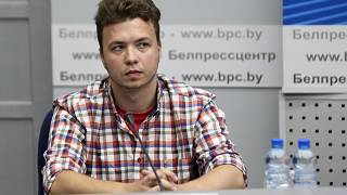 Belarusian dissident journalist Roman Protasevich attends a news conference at the Ministry of Foreign Affairs in Minsk, Belarus, Monday, June 14, 2021.