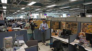 Die Redaktion der regierungskritischen Hongkonger Zeitung Apple Daily am 17. Juni 2021