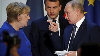 Merkel, Macron és Putyin 2019-ben
